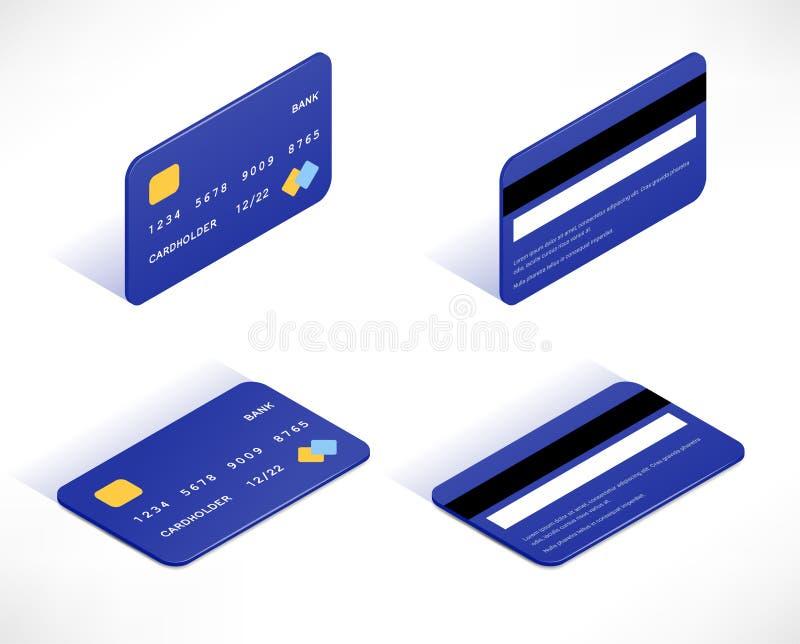 Insieme isometrico delle icone della carta di credito illustrazione di stock