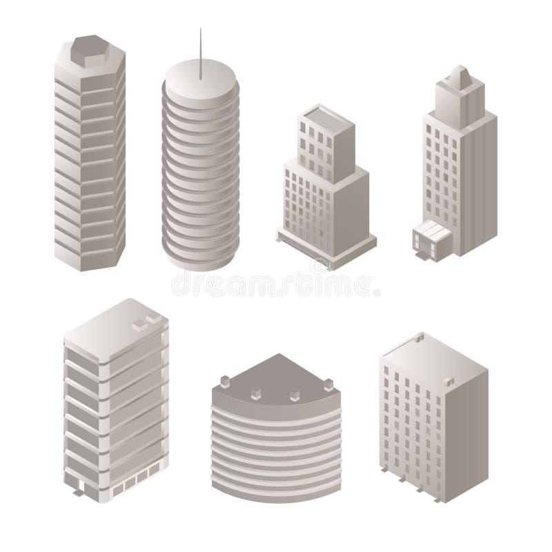 Insieme isometrico delle illustrazioni delle costruzioni urbane illustrazione vettoriale