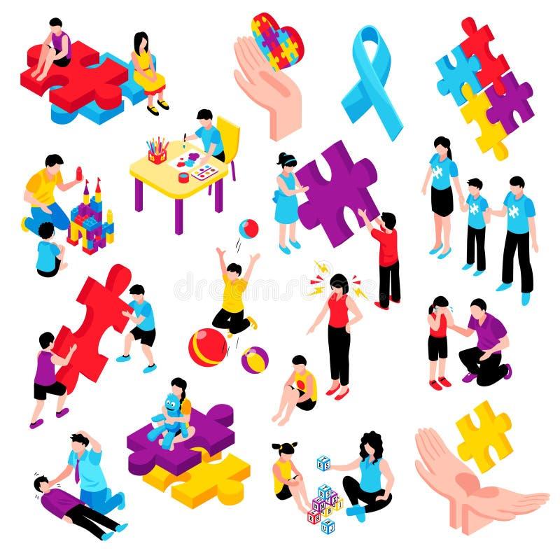 Insieme isometrico di autismo illustrazione vettoriale