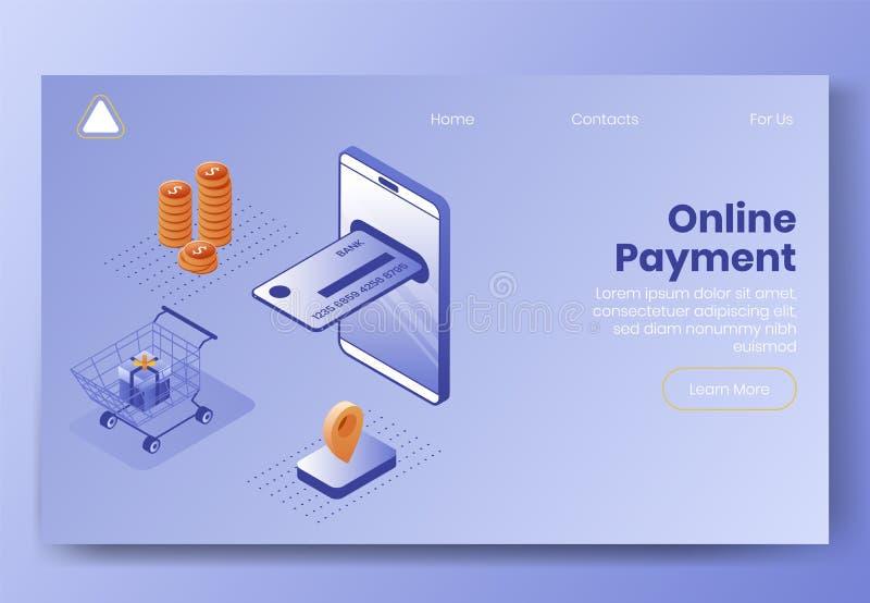 Insieme isometrico di concetto di progetto di Digital delle icone online del app 3d di pagamento Telefono isometrico del simbolo- illustrazione vettoriale