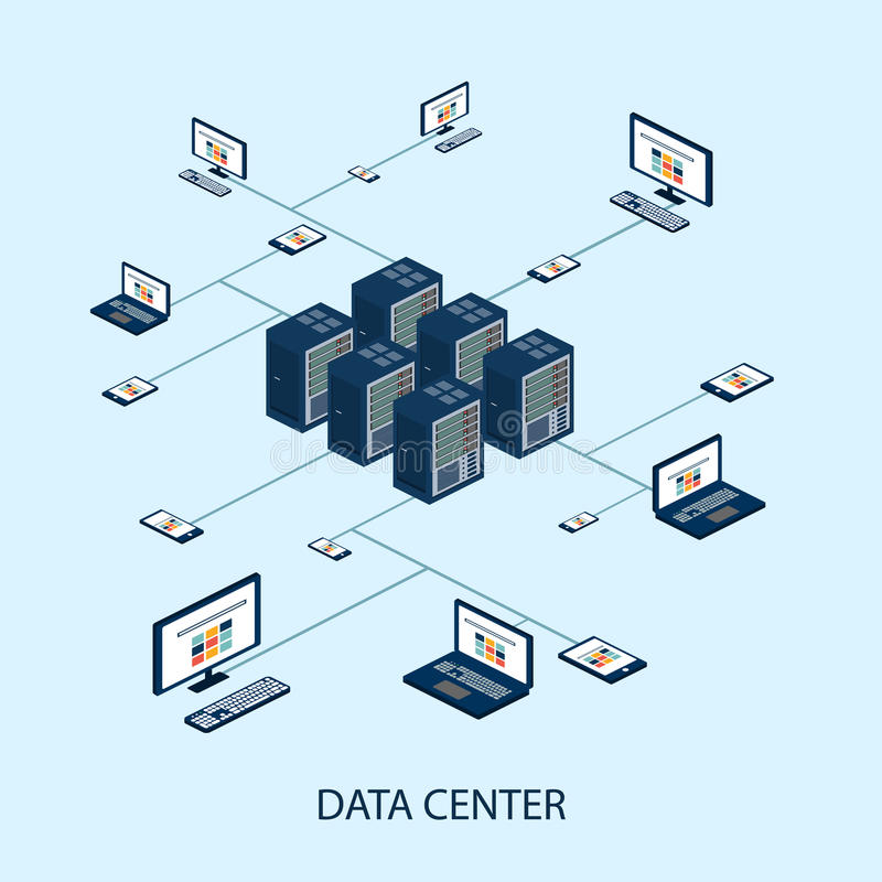 Insieme isometrico di dati con il vettore degli elementi di rete e del centro dati illustrazione vettoriale