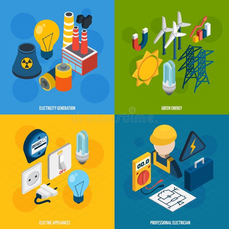Insieme isometrico di elettricità illustrazione di stock