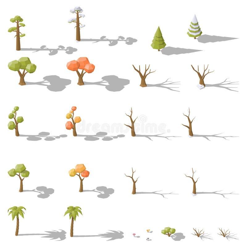 Insieme isometrico di poli alberi ed arbusti bassi differenti royalty illustrazione gratis