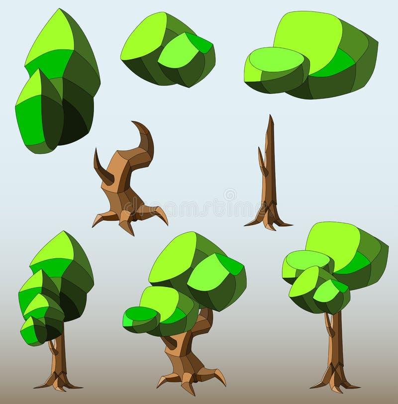 Insieme isometrico di poli alberi ed arbusti bassi differenti illustrazione di stock
