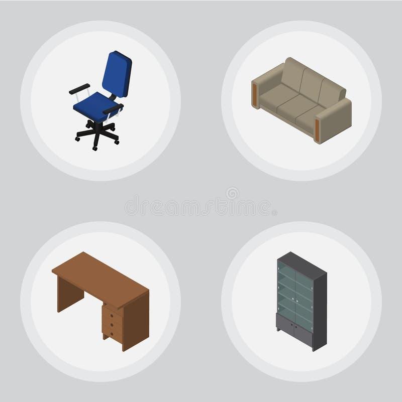 Insieme isometrico di progettazione della Tabella, dello strato, della credenza e di altri oggetti di vettore Inoltre include il  illustrazione vettoriale