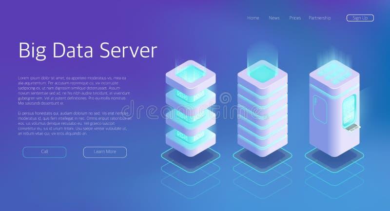 insieme isometrico di vettore 3d di grande server del centro dati royalty illustrazione gratis