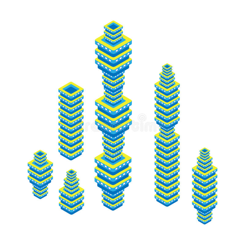 Insieme isometrico piano 3d del grattacielo Centro di affari Isolato su priorità bassa bianca illustrazione di stock