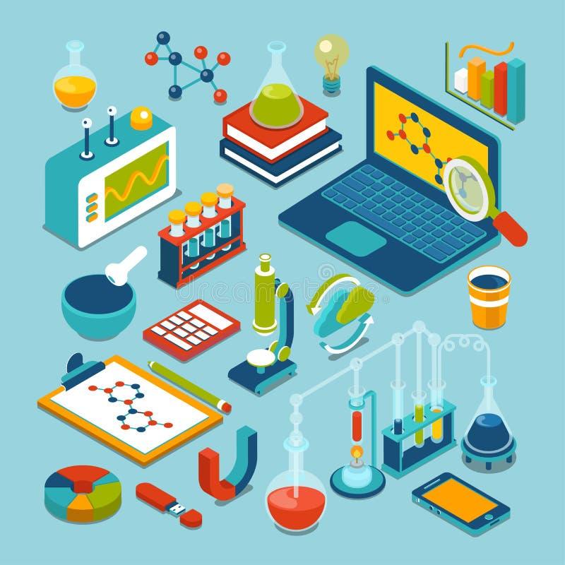 Insieme isometrico piano dell'icona degli oggetti di ricerca di scienza 3d