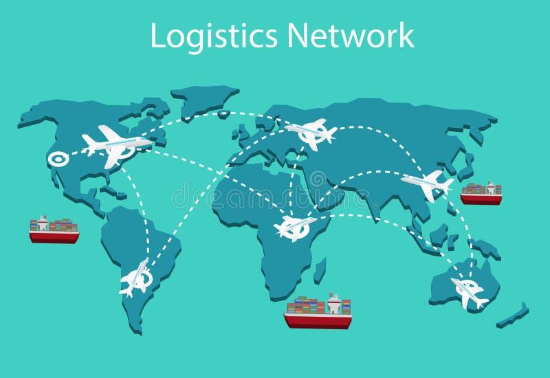 Insieme isometrico piano dell'illustrazione di vettore 3d della rete di logistica di trasporto marittimo di trasporto su autocarr royalty illustrazione gratis