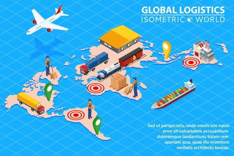 Insieme isometrico piano dell'illustrazione di vettore 3d della rete globale di logistica delle merci aviotrasportate illustrazione vettoriale