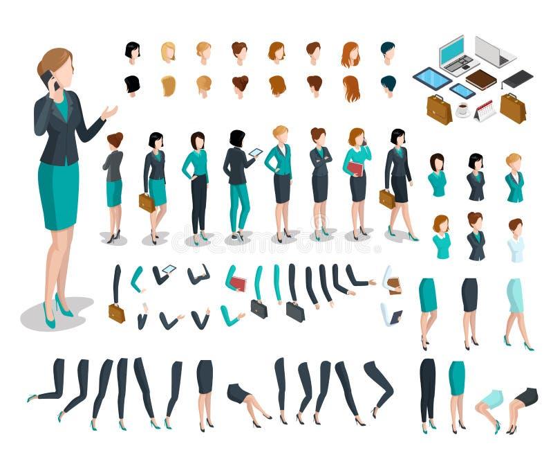 Insieme isometrico piano della donna delle parti del corpo Busine illustrazione vettoriale