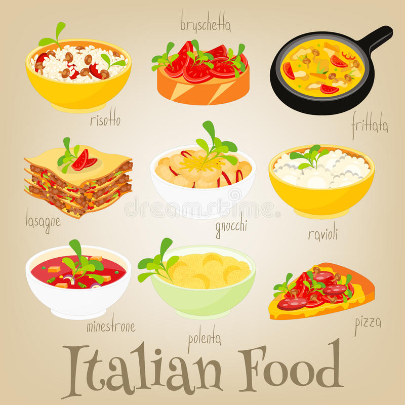 Insieme italiano dell'alimento illustrazione di stock