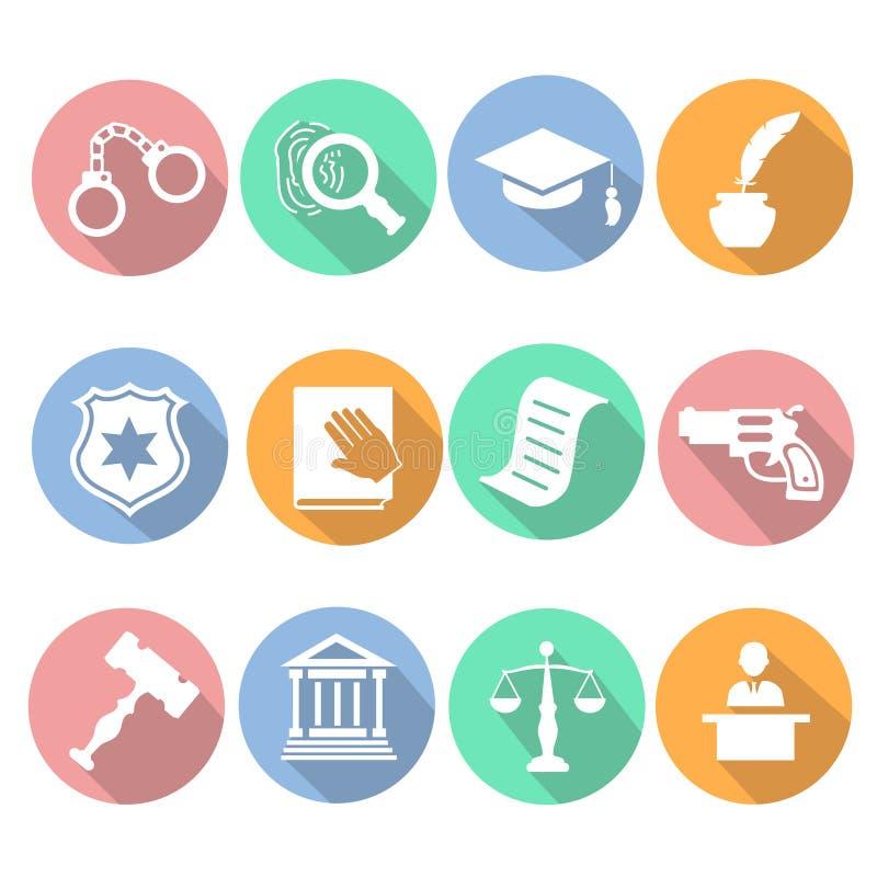 Insieme legale del piano dell'icona della giustizia di giudizio e di legge illustrazione vettoriale