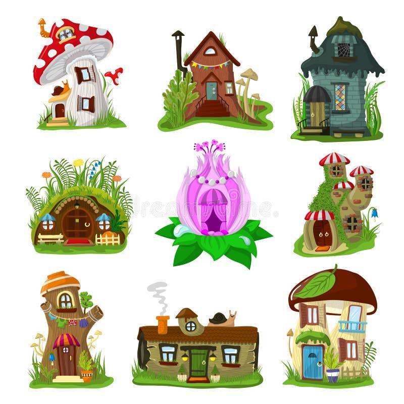 Insieme leggiadramente dell'illustrazione della capanna sugli'alberi del fumetto di vettore della casa di fantasia e del villaggi royalty illustrazione gratis