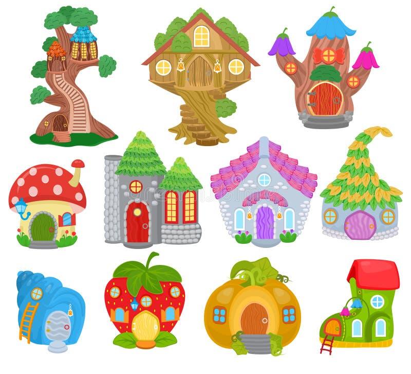 Insieme leggiadramente dell'illustrazione della capanna sugli'alberi del fumetto di vettore della casa di fantasia e del villaggi illustrazione vettoriale