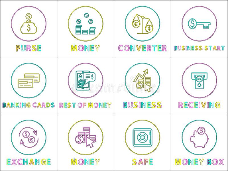 Insieme lineare delle icone di affari online e di commercio elettronico royalty illustrazione gratis