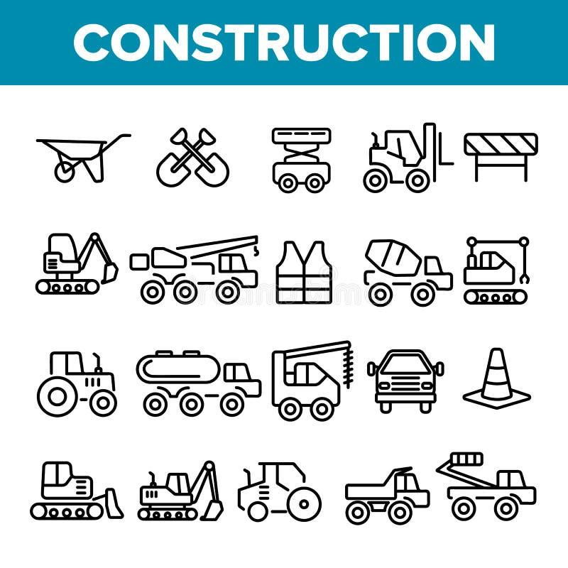 Insieme lineare delle icone di vettore degli elementi dei lavori di costruzione illustrazione vettoriale