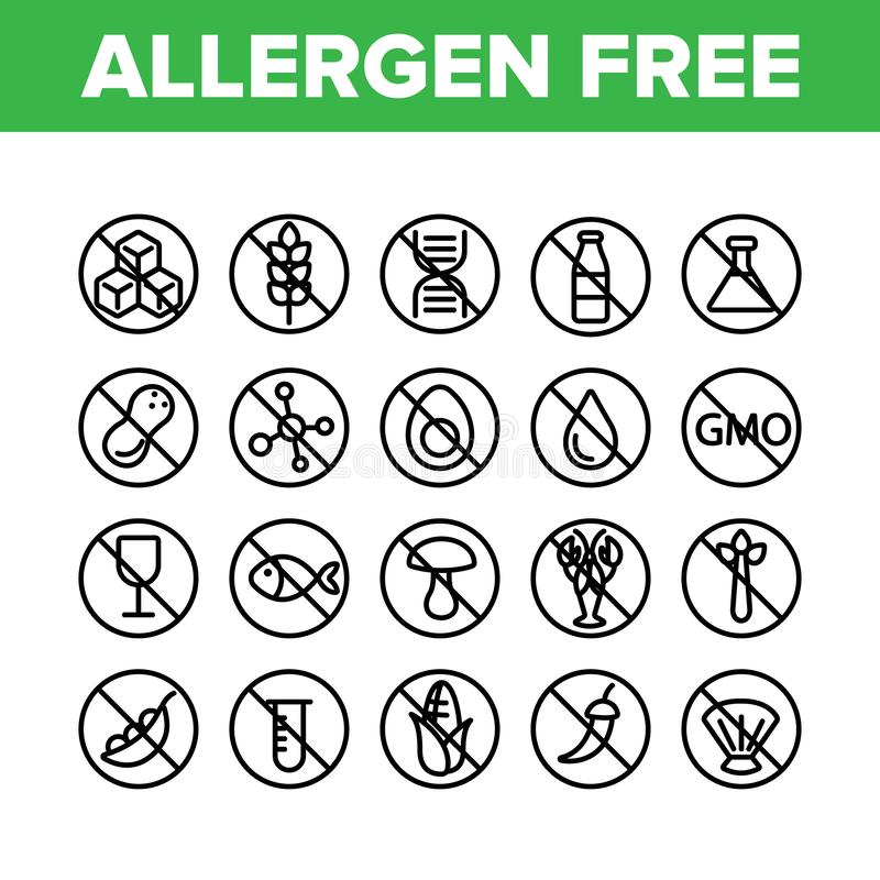 Insieme lineare delle icone di vettore libero dell'alimento dell'allergene illustrazione vettoriale