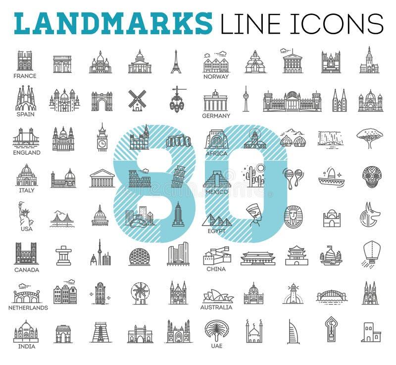 Insieme lineare semplice dell'icona di vettore che rappresenta i punti di riferimento e le destinazioni turistici globali di viag illustrazione di stock
