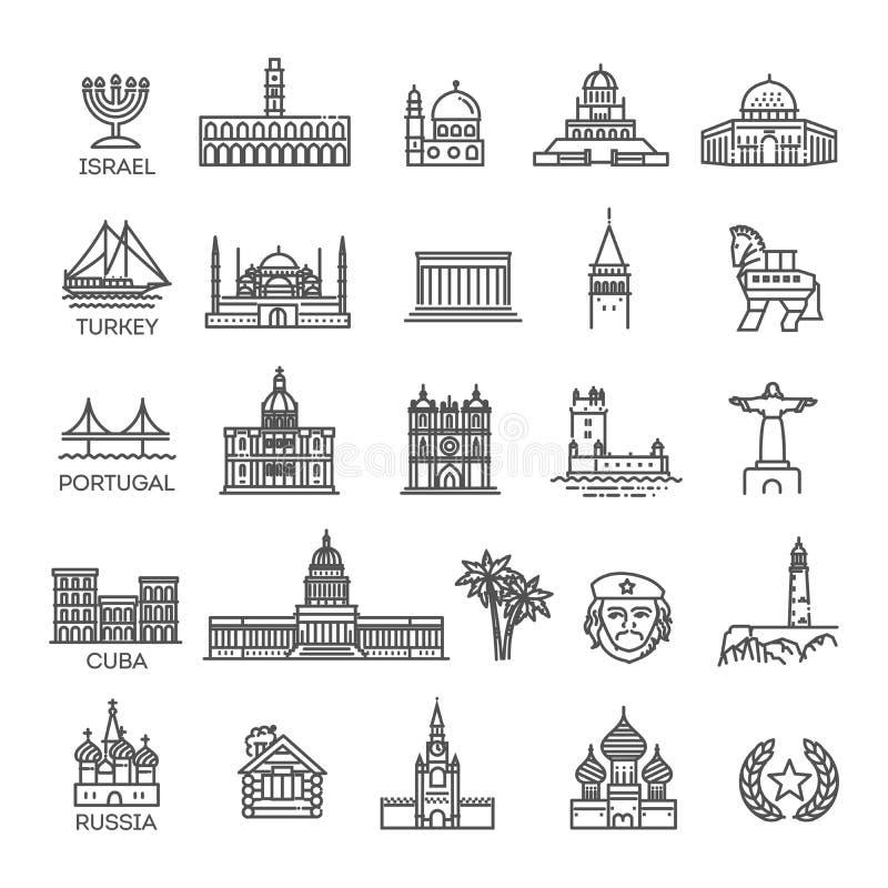 Insieme lineare semplice dell'icona di vettore che rappresenta i punti di riferimento e le destinazioni turistici globali di viag royalty illustrazione gratis