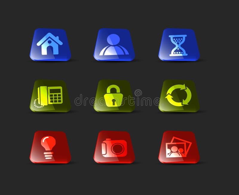Insieme lucido dell'icona illustrazione di stock