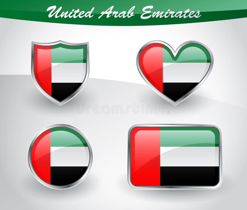 Insieme lucido dell'icona della bandiera degli Emirati Arabi Uniti illustrazione vettoriale