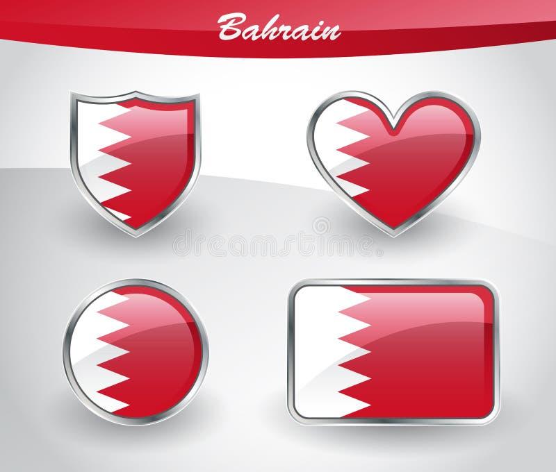 Insieme lucido dell'icona della bandiera del Bahrain illustrazione di stock