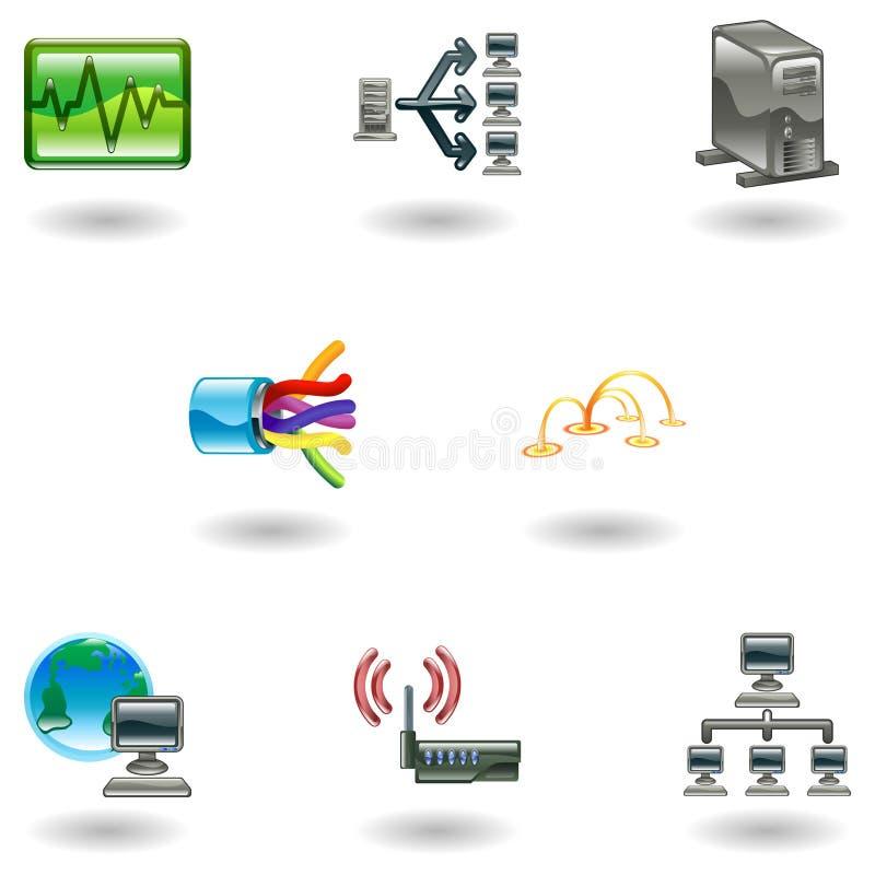 Insieme lucido dell'icona della rete di calcolatore illustrazione di stock