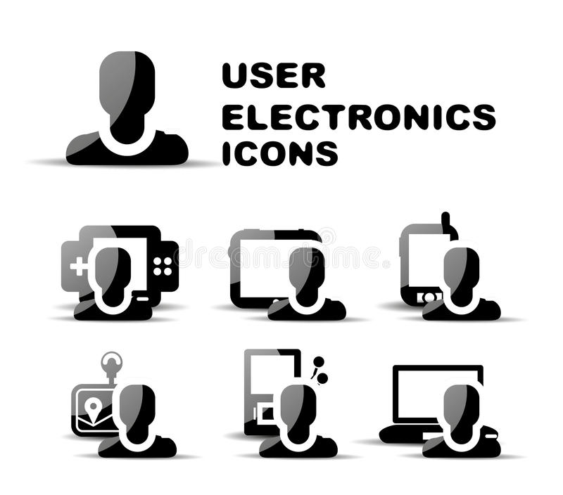 Insieme lucido dell'icona di elettronica nera dell'utente illustrazione di stock