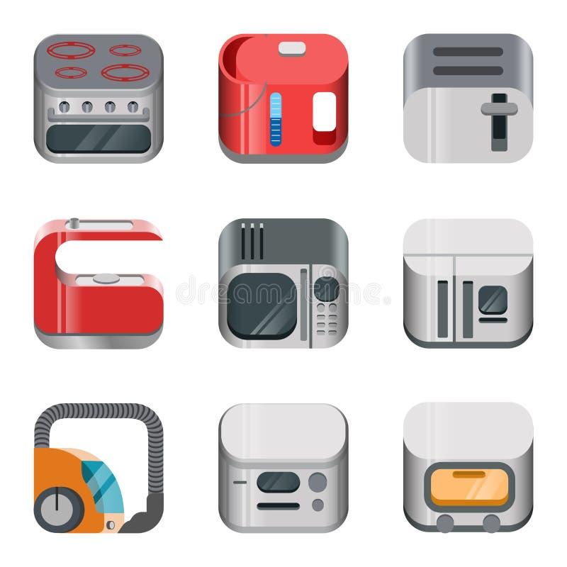 Insieme lucido di vettore dell'icona di app di elettronica domestica royalty illustrazione gratis