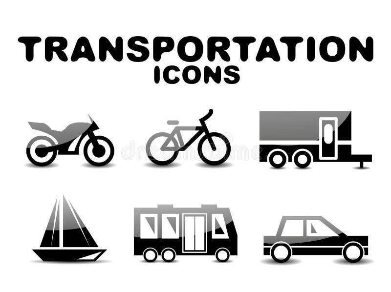 Insieme lucido nero dell'icona del trasporto royalty illustrazione gratis