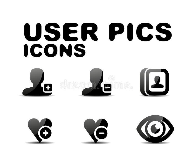 Insieme lucido nero dell'icona dell'utente. Illustrazione di vettore royalty illustrazione gratis