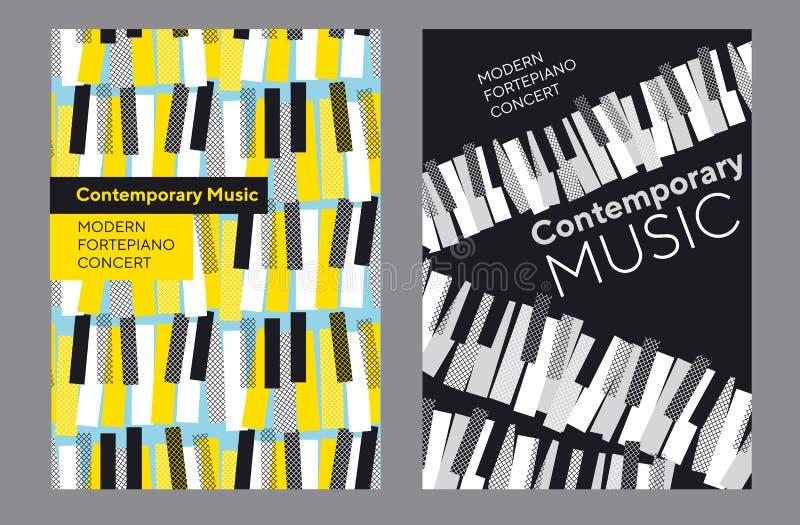 Insieme luminoso del manifesto per il concerto di musica del piano illustrazione di stock