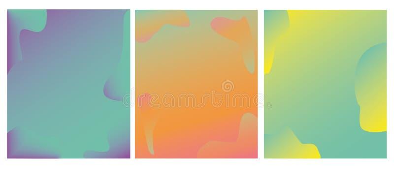 Insieme luminoso delle carte con la pendenza d'avanguardia di colore Fondo d'avanguardia astratto, struttura variopinta Progettaz immagini stock