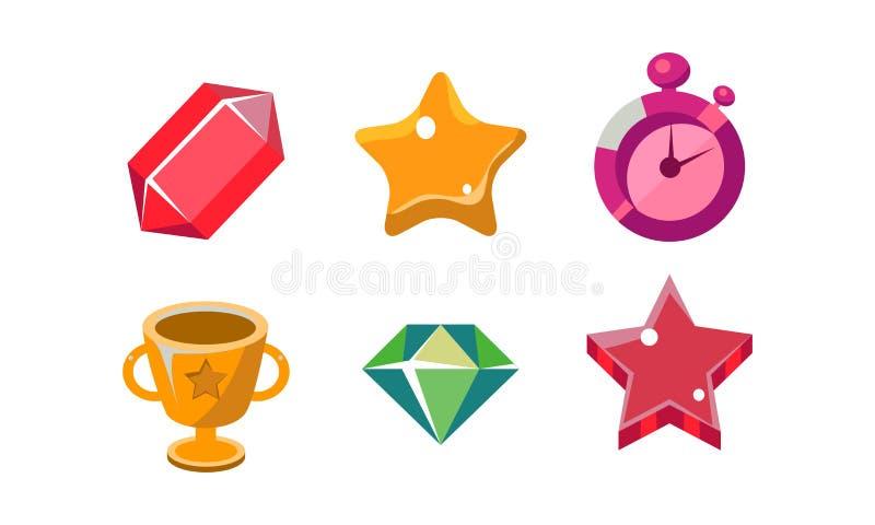 Insieme luminoso variopinto di forme della gelatina, cristallo, tazza del vincitore, diamante, sveglia, stella, beni dell'interfa illustrazione vettoriale