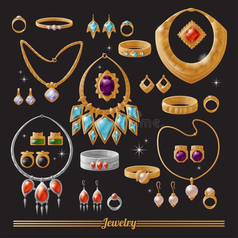 Insieme lussuoso costoso dei gioielli dell'argento e dell'oro illustrazione di stock