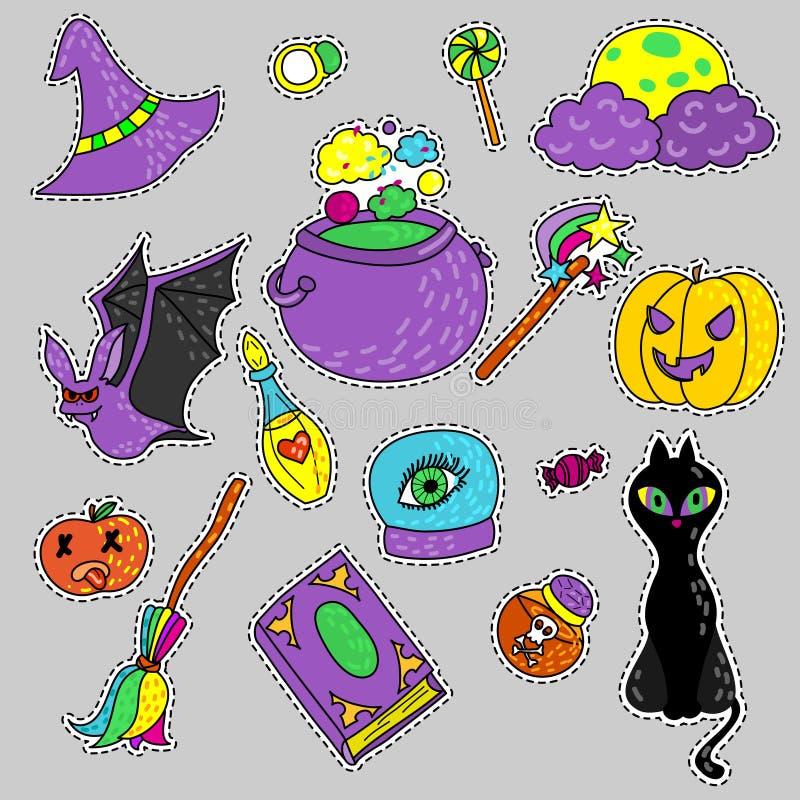Insieme magico del fumetto delle streghe Insieme delle icone per Halloween Lo sy illustrazione di stock