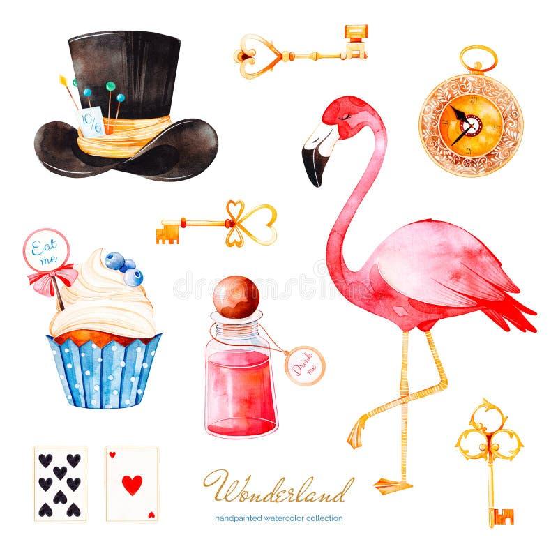 Insieme magico dell'acquerello con il bigné e la bottiglia con l'etichetta con testo, chiavi dorate, carte da gioco, orologio royalty illustrazione gratis