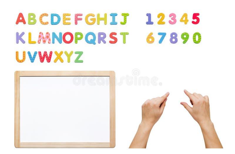 Insieme magnetico di alfabeto Sviluppi la vostra parola con le lettere, lavagna immagini stock libere da diritti