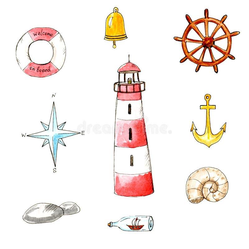 Insieme marino di estate isolato acquerello Tema dei holdays e del mare royalty illustrazione gratis