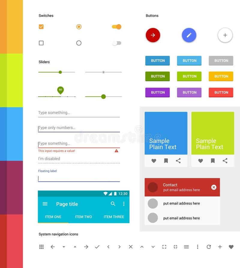Insieme materiale di ui di progettazione Elementi moderni di ui Insieme delle icone semplici Corredo di Android UI illustrazione vettoriale