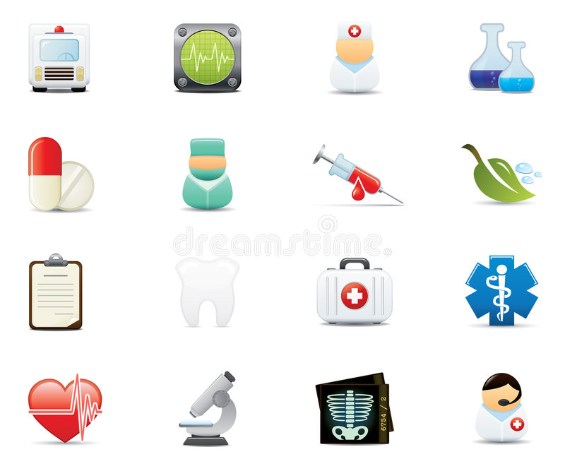 Insieme medico dell'icona illustrazione di stock