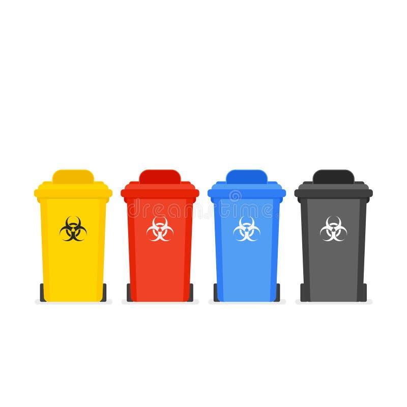 Insieme medico dell'icona del secchio della spazzatura royalty illustrazione gratis