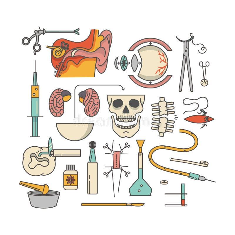 Insieme medico dell'icona, illustrazione di vettore del profilo, fondo bianco immagine stock