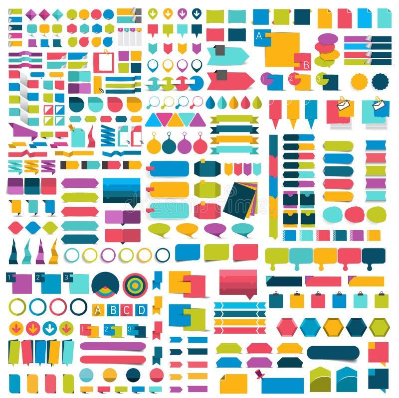 Insieme mega degli elementi piani di progettazione di infographics, schemi, grafici, bottoni, fumetti, autoadesivi illustrazione di stock
