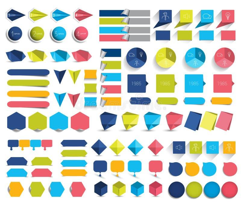 Insieme mega degli elementi piani di progettazione di infographics, schemi, grafici, bottoni, fumetti, autoadesivi illustrazione vettoriale