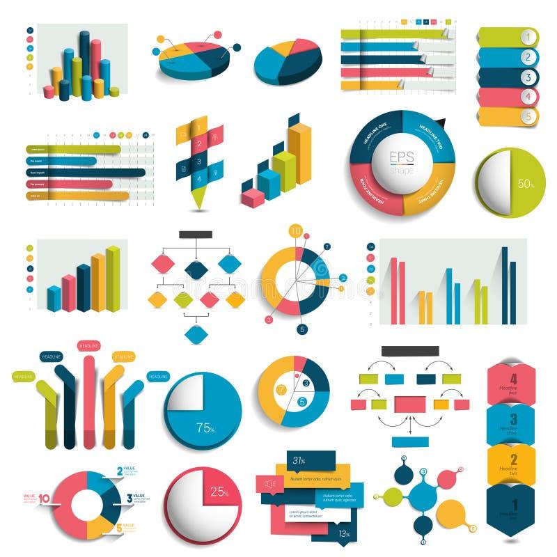 Insieme mega dei grafici di progettazione di affari 3D, grafici, modelli, schemi illustrazione di stock