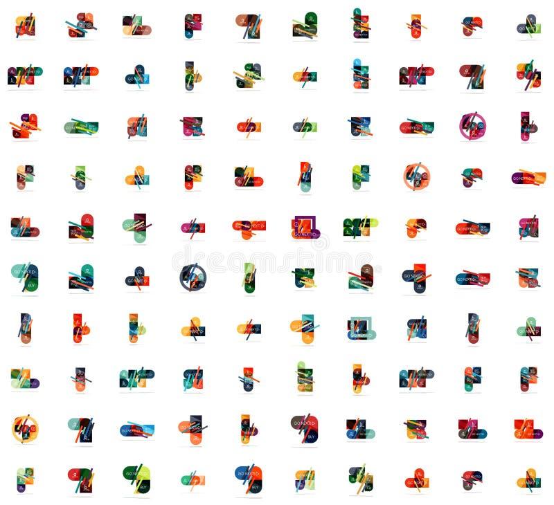 Insieme mega dei modelli infographic fatti delle forme geometriche Per le insegne, ambiti di provenienza di affari, presentazioni illustrazione vettoriale