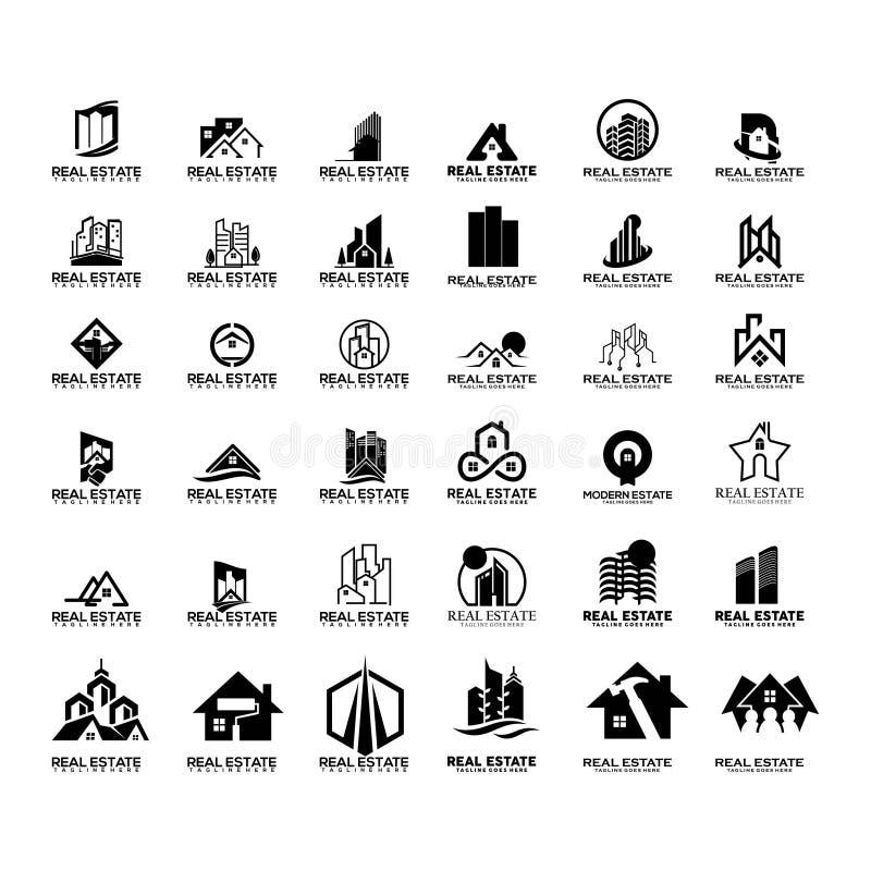 Insieme mega del logo del bene immobile illustrazione vettoriale