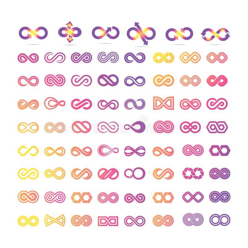 Insieme mega del simbolo di infinito illustrazione vettoriale